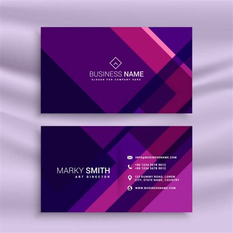 purple business card template free creative purple business card in abstract style vector
