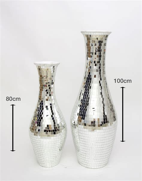 floor vase with glass mosaic 80 cm ceramic silver