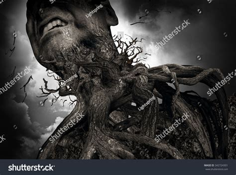 pain torture suffering pain concept tree roots shaped stock