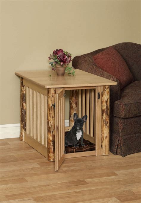 rustic dog bed dog crate  hunting cabin rustic  table