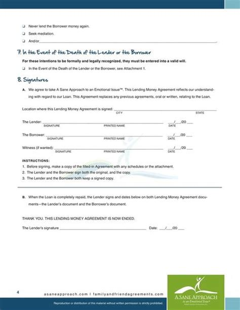 money agreement template money loan contract free printable documents