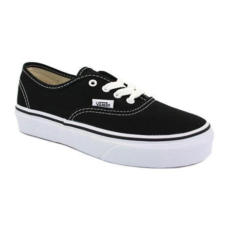 vans authentic ee0blk canvas laced trainers black ebay