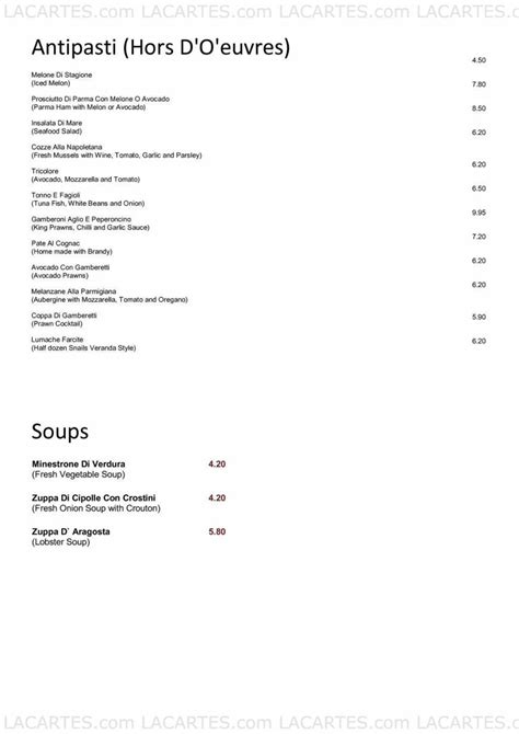 la veranda carshalton 1 of 5 price lists menus la veranda italian