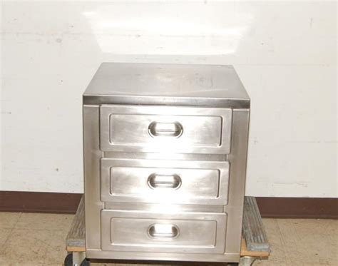 stainless steel 3 drawer storage cabinet 22 quot wide ebay