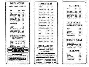 menus subway