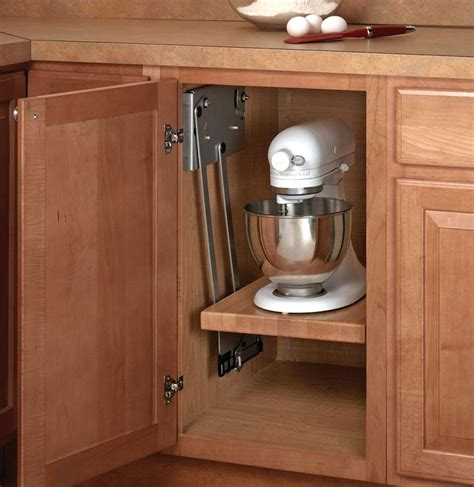 pull up kitchen cabinets maple wood block shelf for appliance lift in pull out