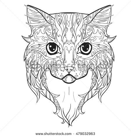coloring page of a cat face handdrawn cat ethnic floral doodle pattern stock vector