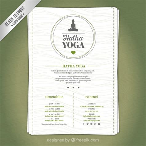 yoga center brochure vector premium download