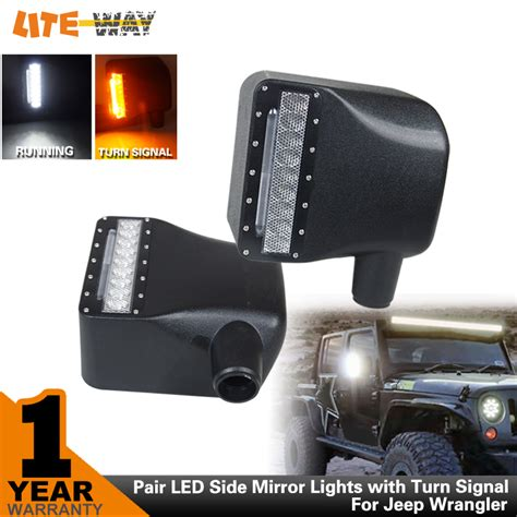 jeep side lights pair 27w car light pair led side mirror lights with turn