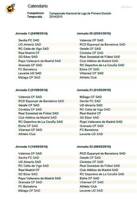 El Calendario Dela Liga Española Calendario Liga F 250 Tbol 2014 2015 Calendario Liga Bbva