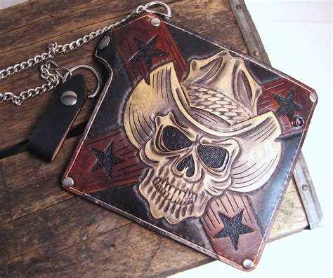 leather trucker wallet pattern buy a hand crafted chain wallet cowboy skull tooled
