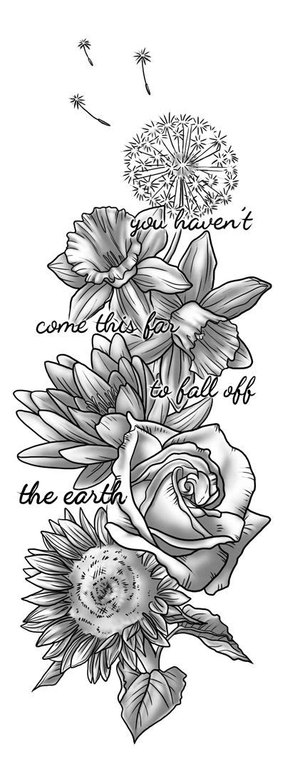 flower tattoo representation tattoo design commissioned by a friend each flower
