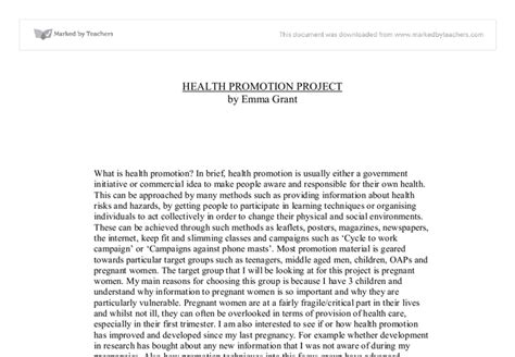 Health Promotion Essays by Health Promotion Essay