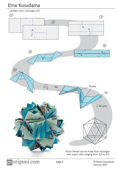What Is Origamy - etna kusudama by sinayskaya diagram go origami