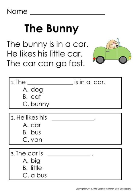 reading comprehension worksheets for toddlers easter kindergarten reading passages and word problems