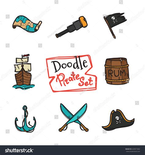 doodle style logo vector doodle style pirate icons set stock vector