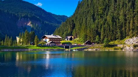 lake house music wallpaper alps mountains lake house austria hd 4k world 4031