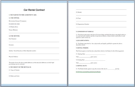 rental car agreement template car rental contract template ms office guru