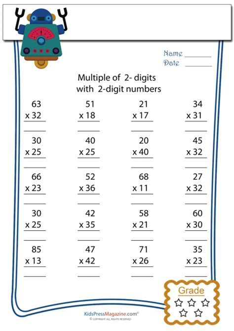 2 X 2 Multiplication Worksheets by 2 Digit X 2 Digit Multiplication Worksheet 2 Digit By