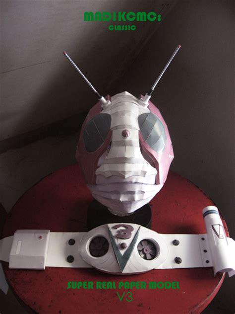 Kamen Rider Helmet Papercraft - paper model kamen rider v3 helmet and belt demo by madkcmc