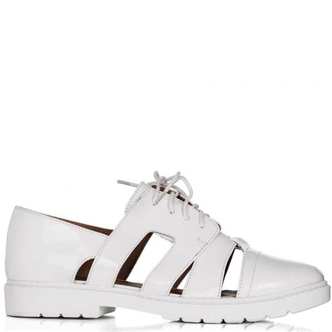 buy 4me flat lace up cut out shoes white patent