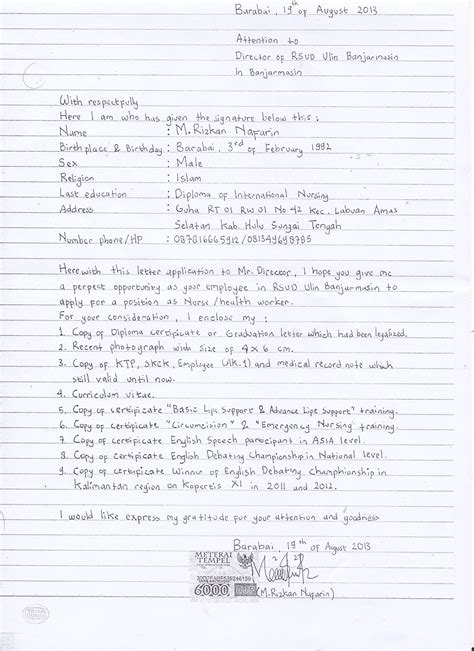 Contoh Surat Lamaran Kerja Di Rsa Ugm by Contoh Surat Lamaran Kerja Stikes Muhammadiyah