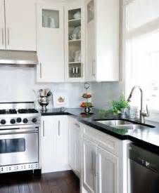 black countertops and white cabinets traditional