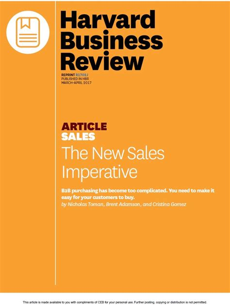 Harvard Mba Program Details by Hbr Article The New Sales Imperative Ceb