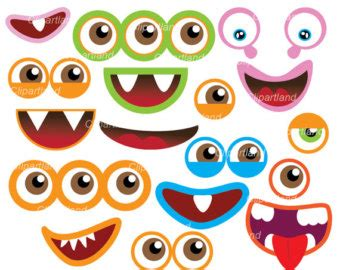 printable alien eyes handmade printable monster mouth etsy
