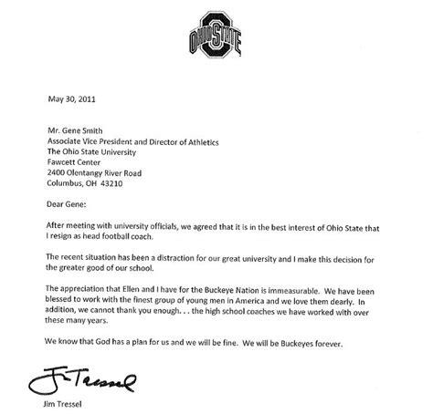 Letter Of Resignation Coach Coach Resignation Letter Sle