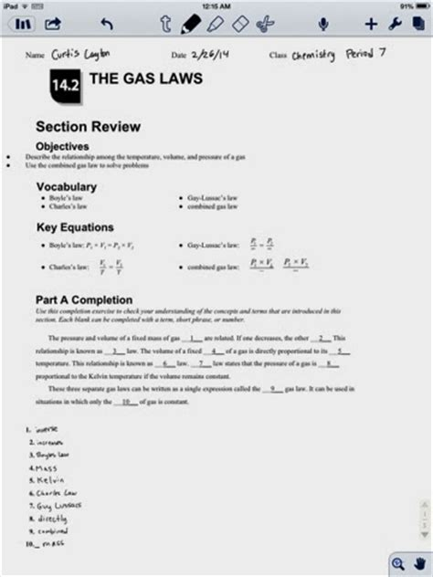 section 3 2 the gas laws curtis layton chemistry the gas laws section 14 2 review