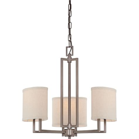 Nuvo Lighting Gemini 3 Light Chandelier W Khaki Fabric Chandelier L Shades Lowes