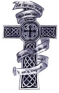 Celtic cross and banner tattoo design