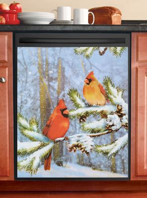 cardinals  snow kitchen dishwasher magnet  collections