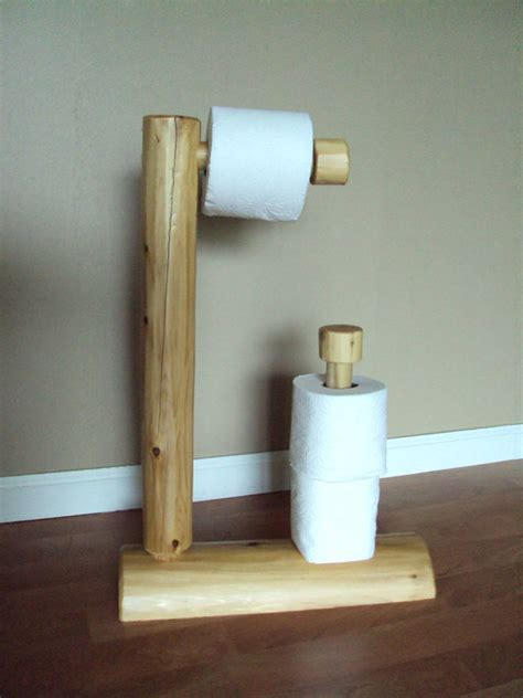 rustic log toilet paper tree home cabin furniture holder
