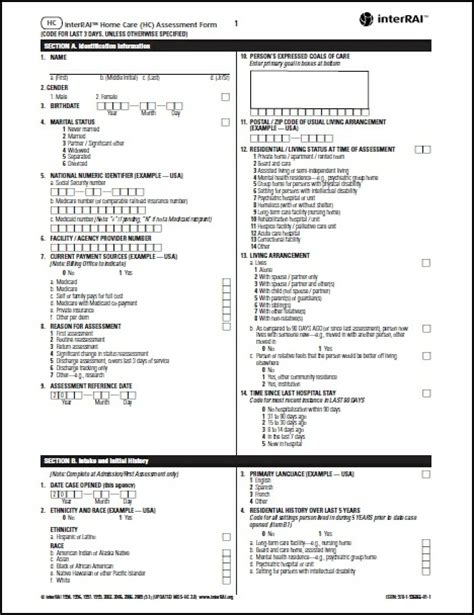hc interrai home care hc assessment form 9 1
