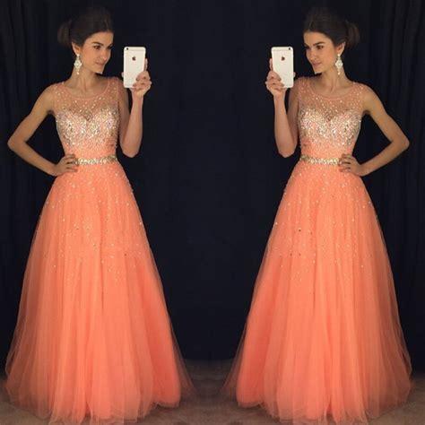 cute peach tulle long prom dresses  beautiful top