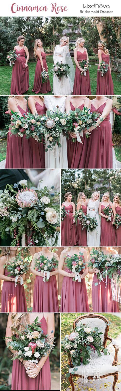 trendy romantic cinnamon rose bridesmaid dresses