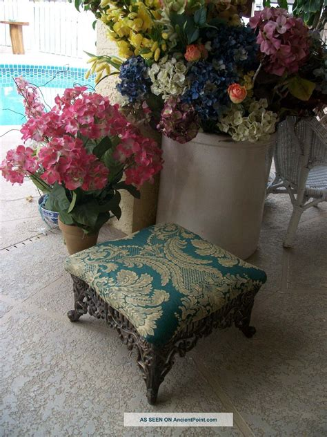 vintage fancy ornate victorian style cast metal foot stool