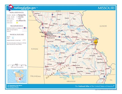 missouri on a map of the usa large detailed map of missouri state missouri state