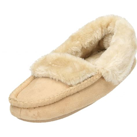 slippers with fur inside cosies faux suede fur lined moccasin cosy warm slippers