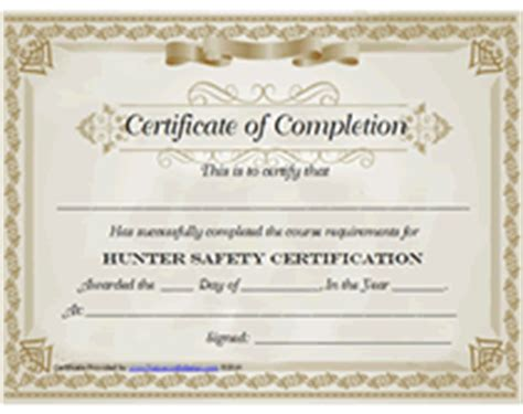 Free Printable Hunter Safety Certification Certificate