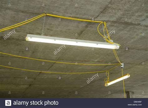 Temporary Lighting On A Construction Site Stock