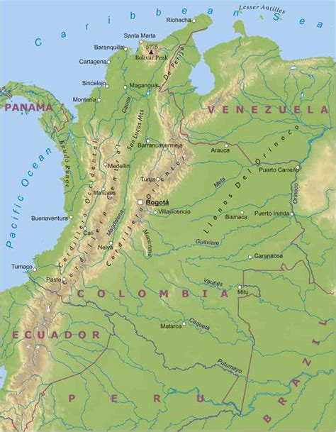 physical map of colombia columbia physical map afputra