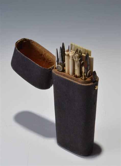 antique shagreen cased set  drawing instruments