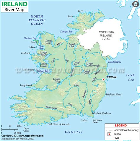 world map showing rivers ireland river map