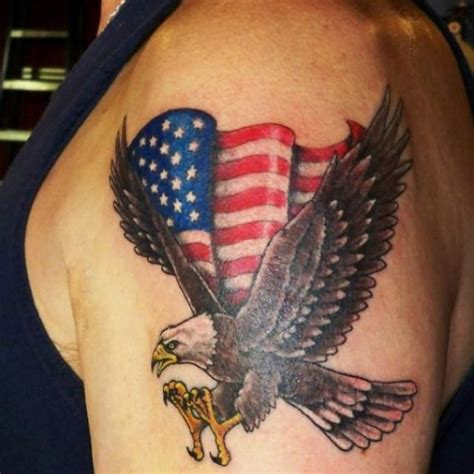 cross and american flag tattoos extend the flag abit put a flag pole the eagle is holding