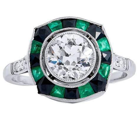 european cut black onyx emerald platinum ring