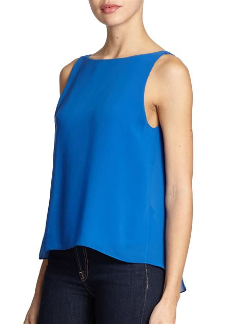V Pleated Top Nf39 1 lyst pleated v back top in blue