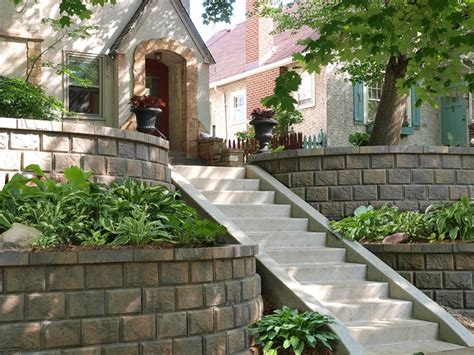 Retaining Wall Ideas For Sloped Backyard Landscape Ideas For Sloped Front Yard Landscape St Louis Www Landscapestlouis Steps